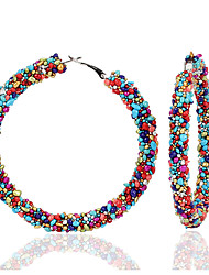 cheap -Women's Multicolor Hoop Earrings Earrings Geometrical Donuts Happy Korean Sweet Fashion Cute Colorful Earrings Jewelry Black / Black / White / Rainbow For Party Daily Street Holiday Festival 1 Pair