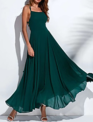 cheap -Women's Elegant Swing Dress - Solid Colored Backless Green M L XL XXL