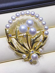 cheap -Women's Freshwater Pearl Brooches Flower Shape Pearl Brooch Jewelry White For Festival