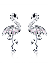 cheap -Women's Pink AAA Cubic Zirconia Stud Earrings Classic Flamingo Stylish Artistic Luxury Trendy Colorful S925 Sterling Silver Earrings Jewelry Silver For Christmas Gift Daily Work Festival 1 Pair