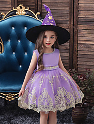 cheap -Kids Toddler Girls' Active Sweet Solid Colored Halloween Embroidered Sleeveless Knee-length Dress Black