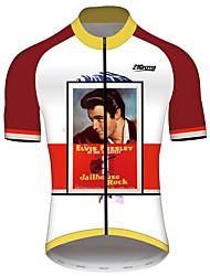 abordables -21Grams Elvis Presley Homme Manches Courtes Maillot Velo Cyclisme - Rouge / Blanc Vélo Maillot Hauts / Top Respirable Séchage rapide Bandes Réfléchissantes Des sports 100 % Polyester VTT Vélo tout