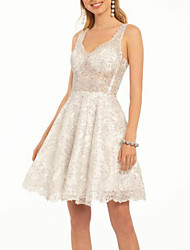 cheap -A-Line Open Back Cocktail Party Dress Spaghetti Strap Sleeveless Short / Mini Lace with Lace Insert 2020