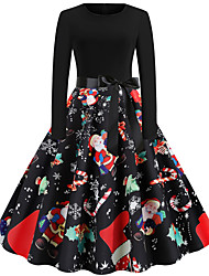 cheap -christmas vintage dress, women elegant long sleeve print dresses - o neck xmas evening party swing dress