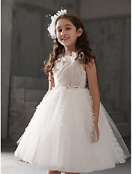 cheap -Princess Knee Length Flower Girl Dress - Lace / Organza / Taffeta Sleeveless Jewel Neck with Appliques / Lace by LAN TING Express