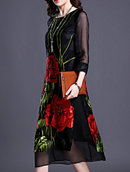 cheap -Women's Shift Dress - Long Sleeve Floral Print Basic Black L XL XXL XXXL XXXXL XXXXXL