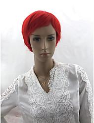 cheap -Human Hair Wig Short Curly Body Wave Bob Asymmetrical Short Bob Red Simple Classic Women Capless Burmese Hair All Unisex Auburn