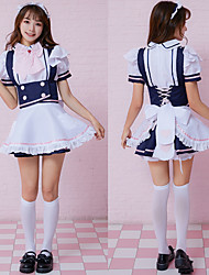 cheap -Maid Costume Cosplay Costume Outfits Masquerade Adults' Women's Cosplay Halloween Halloween Festival / Holiday Polyster White Women's Carnival Costumes