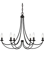 cheap -6-Light Black Metal Pendant Light American Industrial Chandelier 6 Lights Hanging lamp for Living Room Bedroom Hall Bar Cafe
