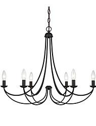 Недорогие -Черный металлический подвесной светильник американская промышленная люстра 6 ламп подвесной светильник для гостиной, спальни, холла, кафе, кафе
