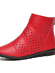 cheap -Women's Boots Low Heel PU Casual Summer Black / Red