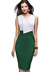 cheap -Women's Green Black Dress Elegant Sophisticated Bodycon Sheath Color Block Solid Colored Deep V Shirt Collar Black & White Patchwork S M / Cotton