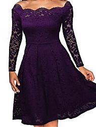 Недорогие -Платье - Длинный рукав Винтажная коллекция Коктейльная вечеринка Белый Черный Бордовый Темно-синий Темно-фиолетовый S M L XL XXL XXXL