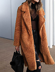 cheap -Women's Daily / Club Basic / Street chic Fall / Winter Long Faux Fur Coat, Solid Colored Turndown Long Sleeve Faux Fur / Acrylic Black / White / Army Green / Loose