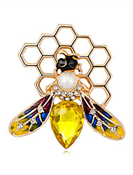 cheap -Women's Pearl Brooches Classic Bee Stylish Simple Vintage Sweet Fashion Brooch Jewelry Light Brown Yellow For Party Gift Street Holiday Festival