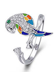 cheap -925 Sterling Silver Luminous Cubic Zircon Parrot Adjustable Open Size Rings for Women Wedding Engagement Jewelry Dimension 2cm*1cm