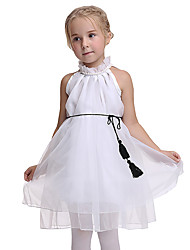 cheap -Princess Dress Flower Girl Dress Kid's Girls' A-Line Slip Halloween Halloween Festival / Holiday Organza White Carnival Costumes
