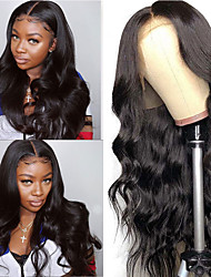 cheap -13x4 Remy Brazilian Body Wave Wig Lace Front Human Hair Wigs for Black Pre Plucked with Baby Hair