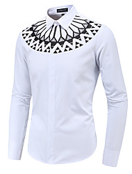 cheap -Men's Going out Work Business / Rock Shirt - Abstract / Tribal Black & White, Print White