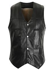 cheap -Men's Daily Basic Plus Size Regular Vest, Solid Colored V Neck Sleeveless PU Black