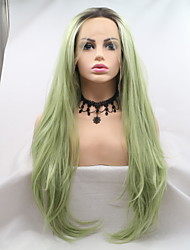 cheap -Synthetic Lace Front Wig Curly Matte Layered Haircut Lace Front Wig Long Black / Green Synthetic Hair 24 inch Women's Women Hot Sale Curler & straightener Green Sylvia