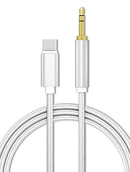 cheap -Type-C to Audio  Adapter 1.0m(3Ft) Braided Zinc Alloy / Canvas USB Cable Adapter For Macbook / iPad / Samsung