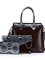cheap -Women's Zipper Patent Leather Bag Set Color Block 3 Pcs Purse Set Black / Brown / Purple / Snakeskin
