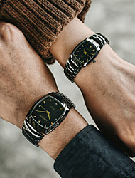 cheap -Couple's Steel Band Watches Quartz Modern Style Stylish Black / Brown 30 m Chronograph Creative Luminous Analog Casual Minimalist - Black Silver Two Years Battery Life