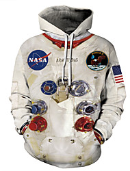 cheap -Men's Plus Size Hoodie Color Block 3D National Flag Hooded Casual Halloween Hoodies Sweatshirts  White