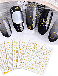 cheap -6 pcs 3D Nail Stickers Star / Vertical / Gold bar nail art Manicure Pedicure Eco-friendly / Universal Stylish Daily / PVC(PolyVinyl Chloride)
