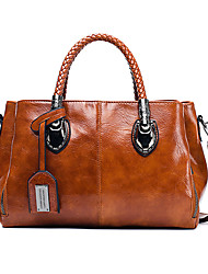 cheap -Women's Leather Top Handle Bag Solid Color Black / Brown / Wine / Fall & Winter