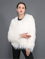 cheap -Women's Fur Coat Short Solid Colored Holiday White Black Purple Wine S M L XL
