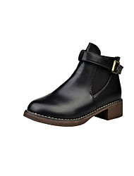 cheap -Women's Boots Chunky Heel Round Toe Faux Leather Mid-Calf Boots Sweet / Minimalism Fall & Winter Black / Wine / Light Brown / Party & Evening