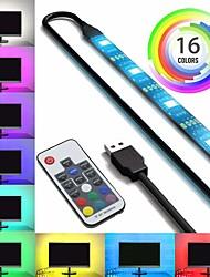 Недорогие -ZDM водонепроницаемый 1м RGB полосы света 60 светодиодов 5050 smd 10мм 1м светодиодные полосы света / 17-клавишный пульт дистанционного управления RGB телевизора фоновый свет IP65