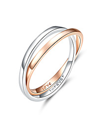 cheap -Two Colors Ring Double Circle Finger Rings for Couple Lover Genuine 925 Sterling Silver Engagement Jewelry