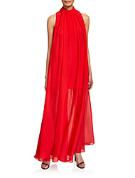 cheap -Sheath / Column Elegant Prom Dress High Neck Sleeveless Floor Length Chiffon with Pleats 2020