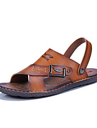cheap -Men's Comfort Shoes Nappa Leather Spring & Summer Casual Sandals Breathable Brown / Khaki