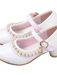 cheap -Girls' Flower Girl Shoes Microfiber Heels Little Kids(4-7ys) Rhinestone White / Pink Summer