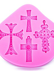 cheap -Halloween Cross Shape Fondant Cake Silicone Mold for Reverse Forming Polymer Clay Chocolate Decoration Tools Food grade