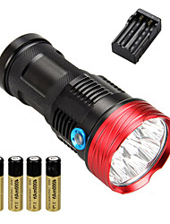 cheap -10 LED Flashlights / Torch Tactical Waterproof 10000 lm LED LED 10 Emitters 3 Mode with Batteries and Charger Tactical Waterproof Rechargeable Impact Resistant Strike Bezel Emergency Camping / Hiking
