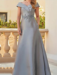 cheap -A-Line Off Shoulder Floor Length Satin Short Sleeve Elegant & Luxurious Mother of the Bride Dress with Appliques / Ruching 2020