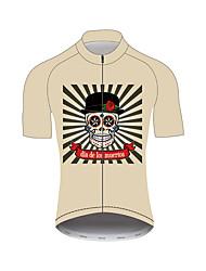 abordables -21Grams Crâne de sucre Homme Manches Courtes Maillot Velo Cyclisme - Kaki Vélo Maillot Hauts / Top Respirable Evacuation de l'humidité Séchage rapide Des sports Nylon Polyster VTT Vélo tout terrain