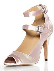 cheap -Women's Latin Shoes Heel Slim High Heel Nude Zip Ankle Strap Satin / Performance