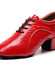 cheap -Women's Dance Shoes Nappa Leather Jazz Shoes Oxford / Sneaker Thick Heel Customizable Red / Performance / Practice