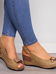 cheap -Women's Sandals Wedge Heel Peep Toe PU Summer Brown / Gray