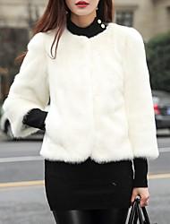 abordables -Femme Quotidien Basique Normal Manteau de fausse fourrure, Couleur Pleine Col Arrondi Manches Longues Fausse Fourrure Blanche