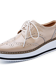 cheap -Women's Oxfords Flat Heel Round Toe Cowhide Casual / British Walking Shoes Spring &  Fall / Spring Burgundy / White / Black