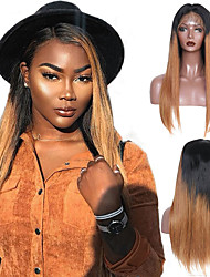 cheap -Remy Human Hair 4x13 Closure Wig Middle Part Side Part Free Part style Brazilian Hair Straight Wig 150% Density Women Best Quality New New Arrival Hot Sale Women's Medium Length Human Hair Lace Wig