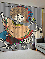 cheap -Cartoon Design People and Horse Skeleton Frightening Theme Curtain for Bar /Club /Cafe Blackout Costom Curtains for Home Decor