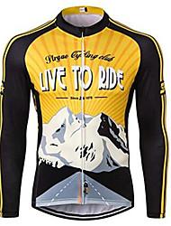 abordables -21Grams Homme Manches Longues Maillot Velo Cyclisme Hiver Toison 100 % Polyester Noir / jaune. Rétro Cyclisme Maillot Hauts / Top VTT Vélo tout terrain Vélo Route Résistant aux UV Respirable